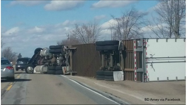 Tipped semi-truck M37 in Caledonia BD Arney 030817_302139