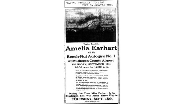 Earhart, Amelia - Flying windmill to stop here on limited tour 9-9-1931_365031