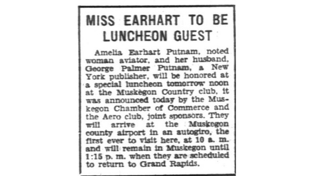 Earhart, Amelia - To be luncheon guest 9-9-1931_365034