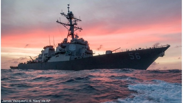 US warship and tanker collide near Singapore