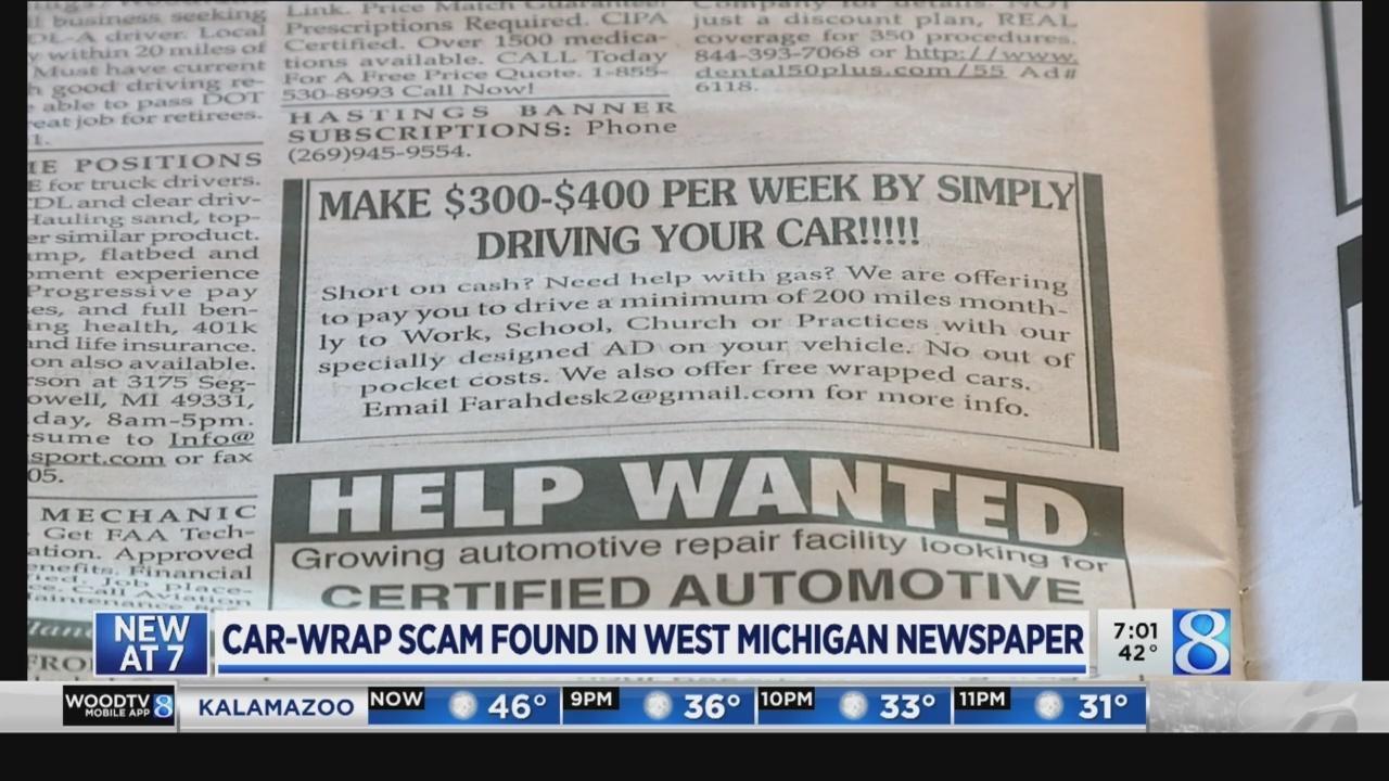 Car wrap scam found in West Michigan newspapers